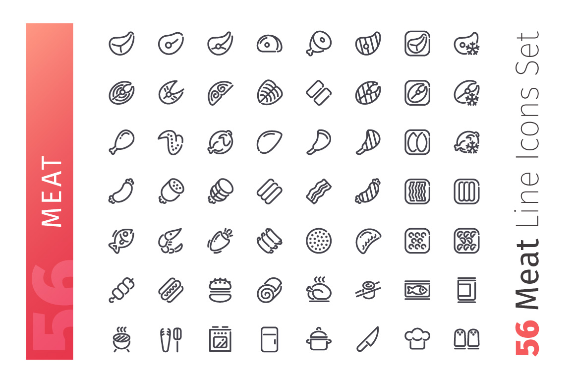 Meat Line Icons Set example image 2