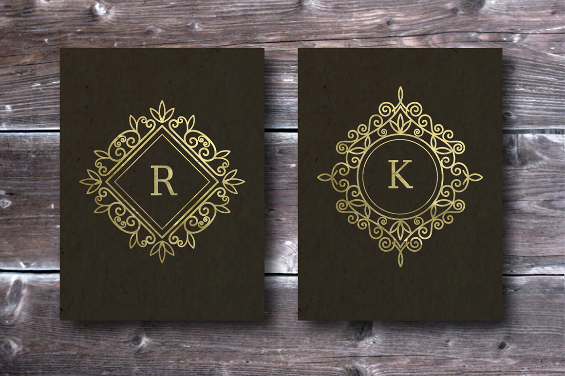 Set of vintage frames and monograms example image 2