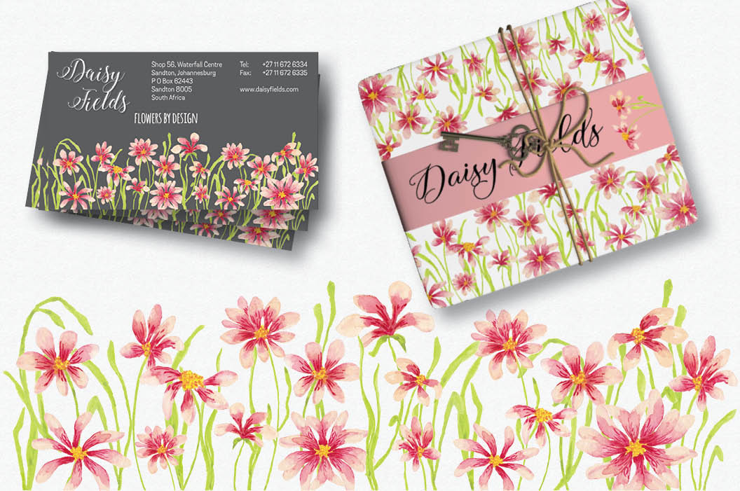 Watercolor borders of pink daisies example image 2