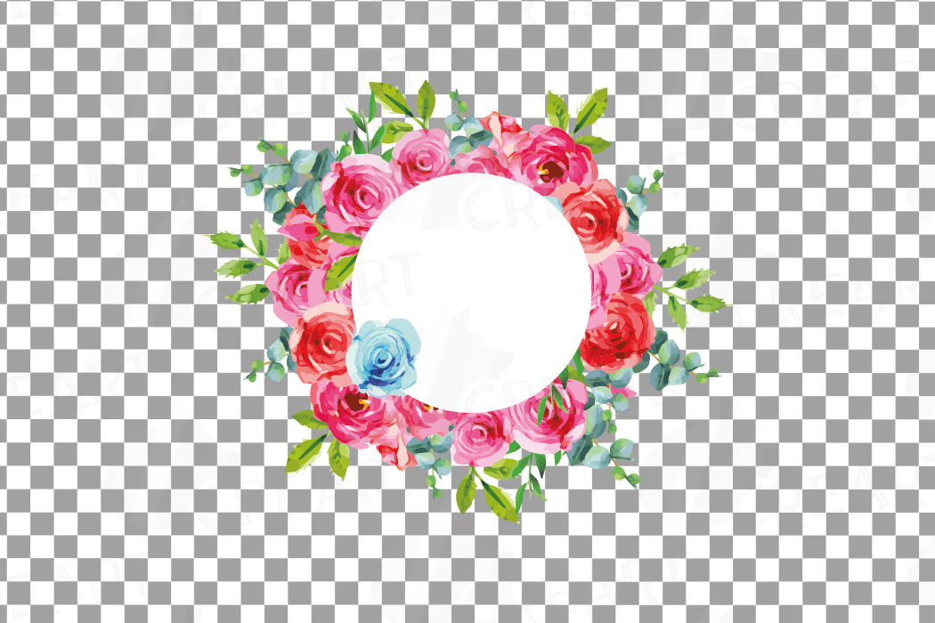 Boho pink and blue floral frames watercolor clip art pack example image 14