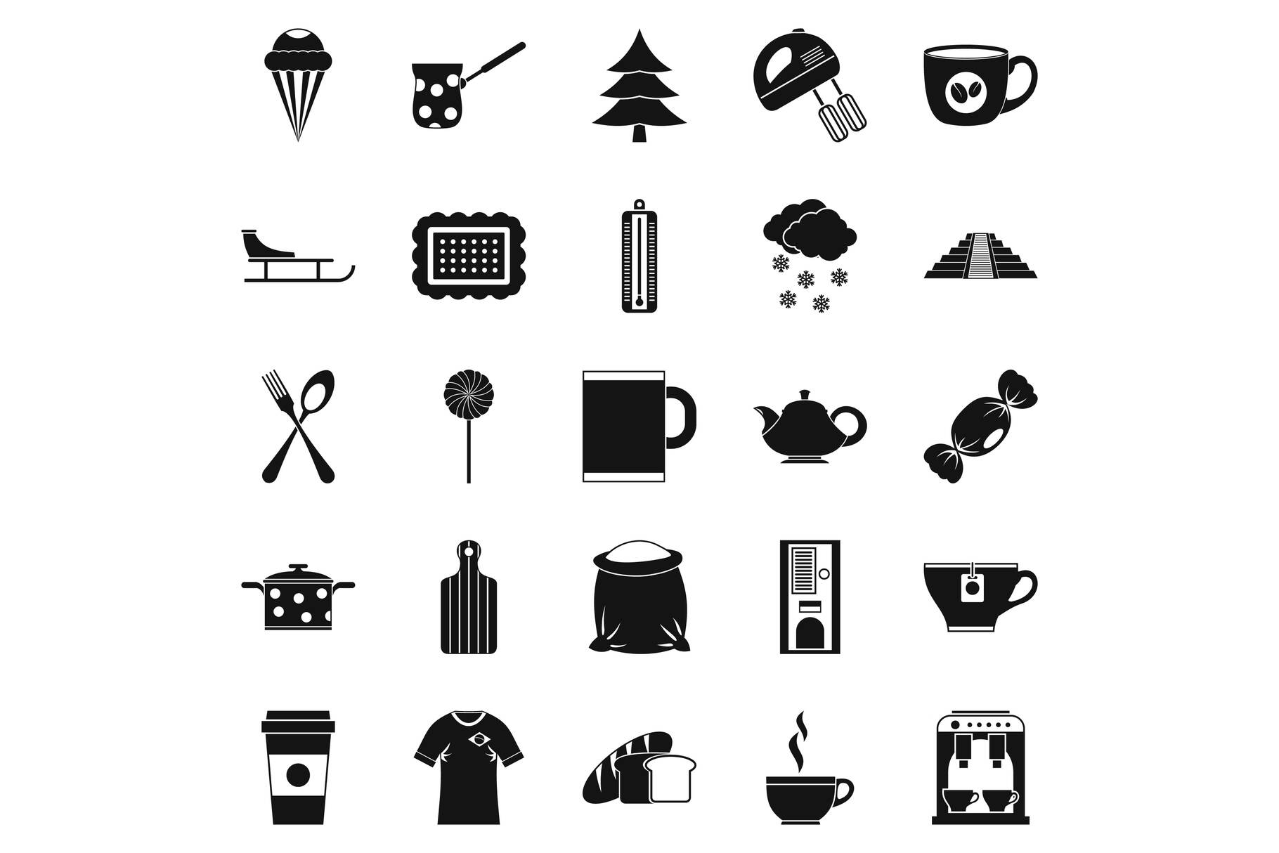 Saloon icons set, simple style example image 1