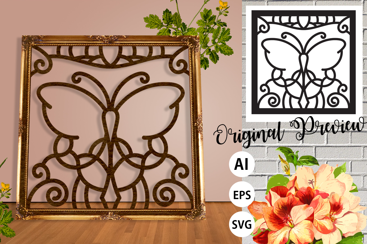 Floral Butterfly Frame Paper Cut - Laser Print SVG, AI, EPS example image 1