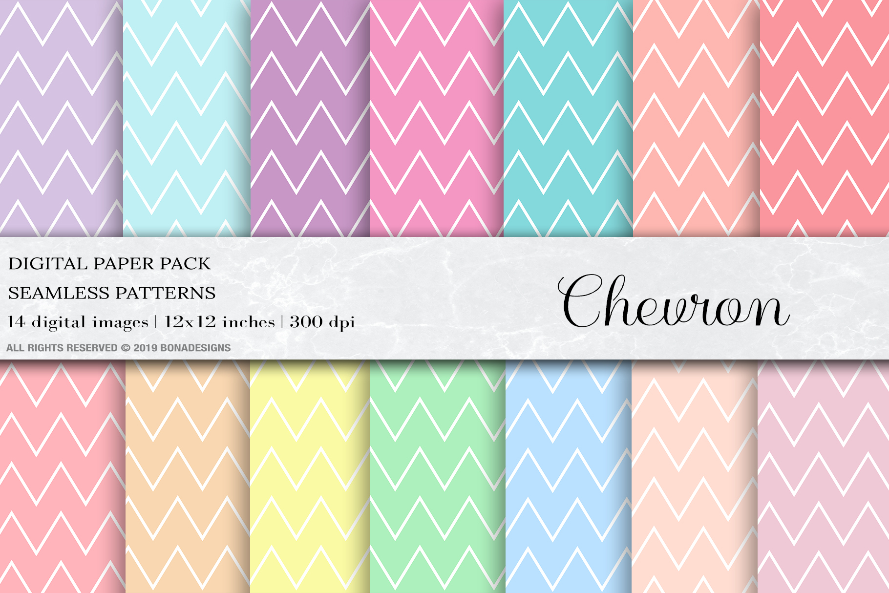Chevron Seamless Pattern, Pastel chevron Digital Paper example image 1