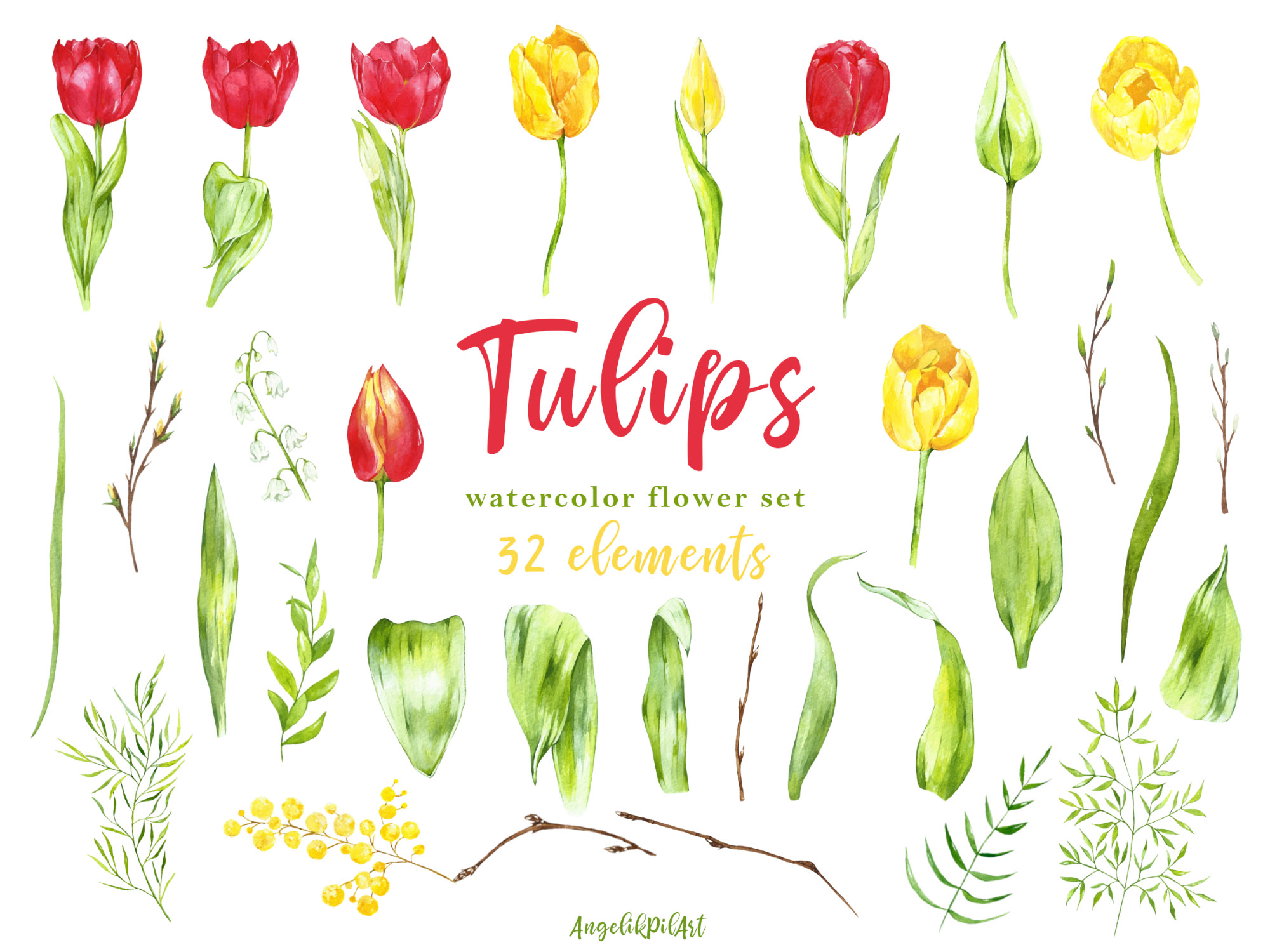 Watercolor hand- painted clipart. red ,yellow tulips, example image 2