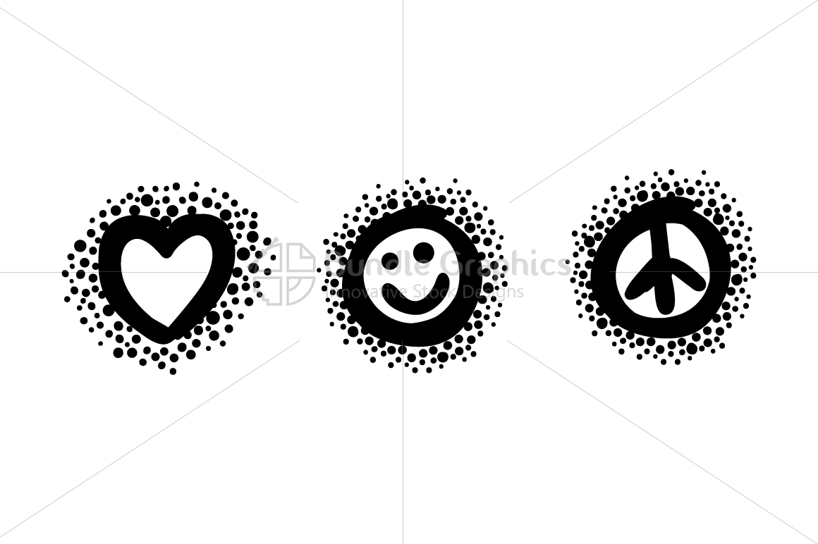 Love Smile Peace - Bold Linear Simple Illustration Iconic Graphics example image 2