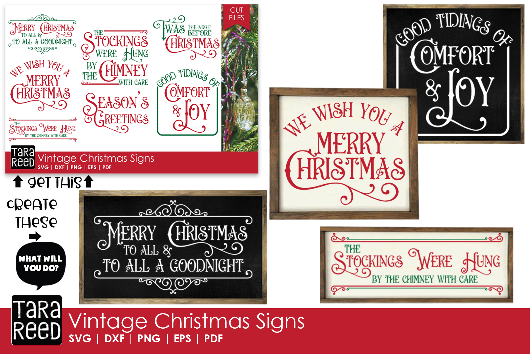 Vintage Christmas Signs - SVG & Cut Files for Crafters example image 3