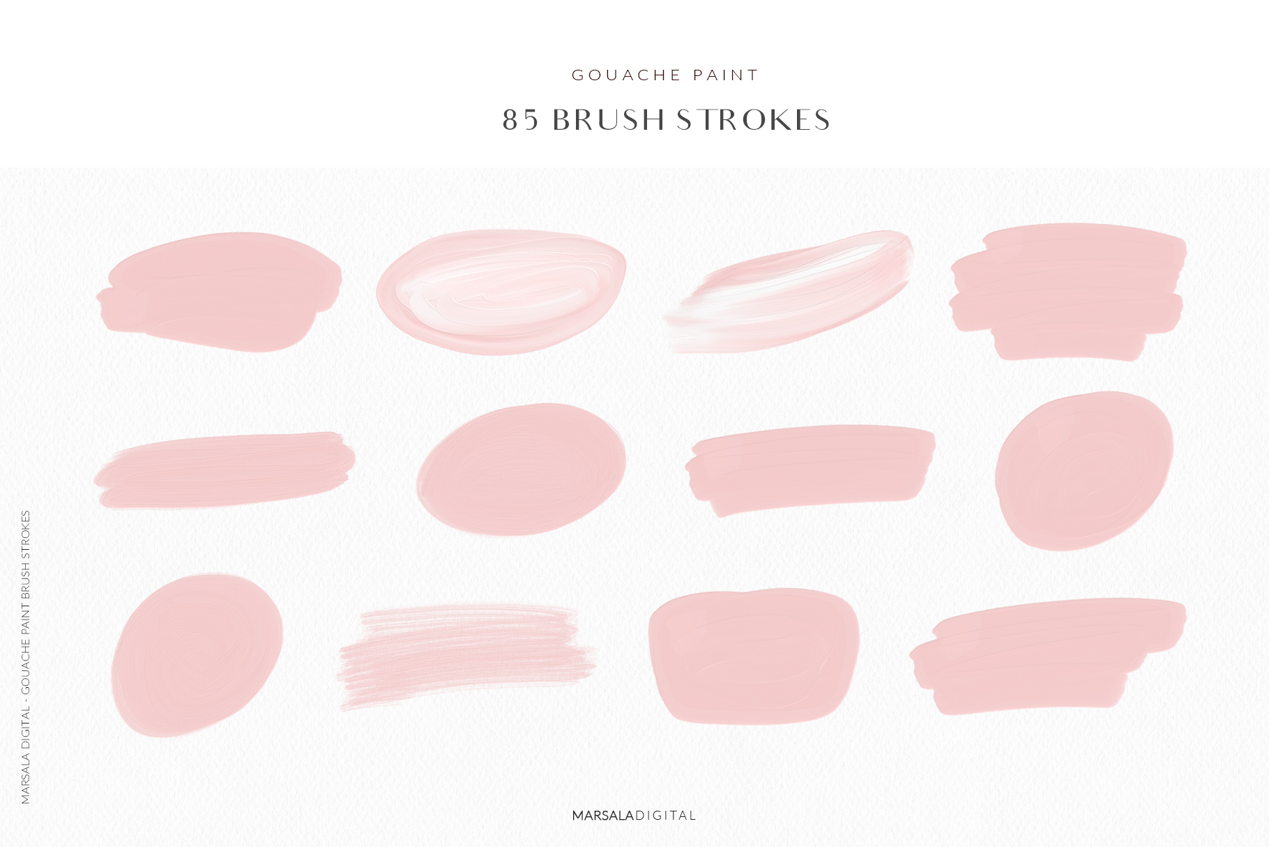 Blush Pink Brush Strokes Clipart example image 2