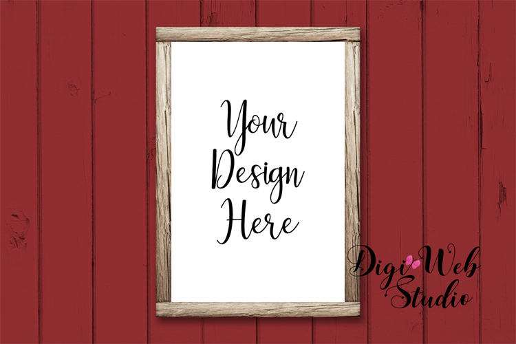 Wood Sign Mockup - Wood Frame on Farmhouse Red Shiplap example image 1