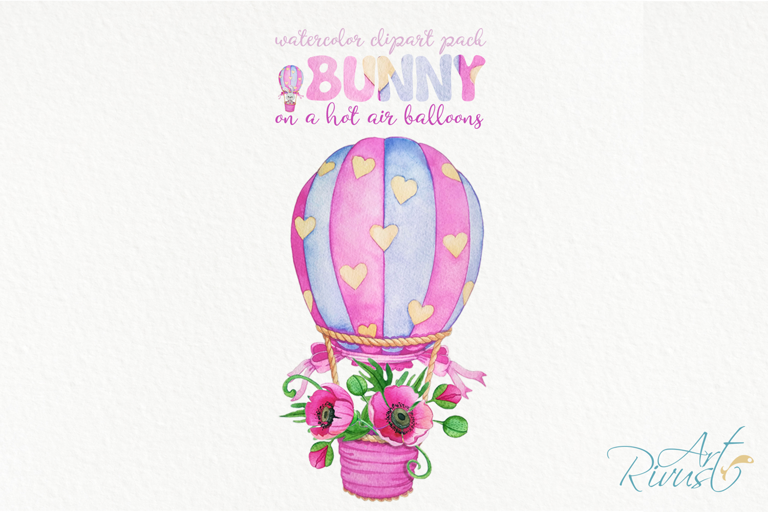 Clipart set watercolor bears with seagull hot air balloons example image 6
