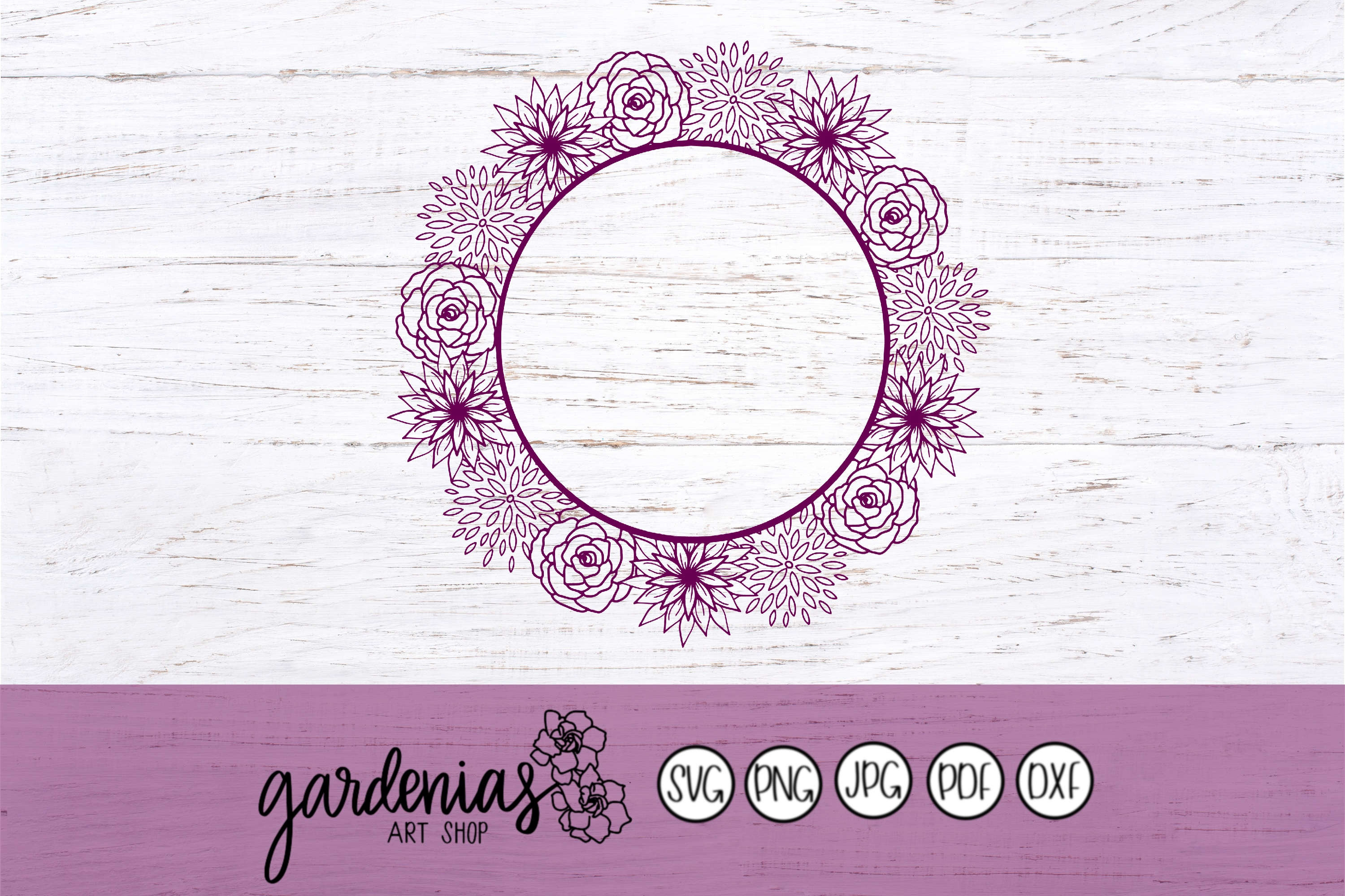 Flower Wreath SVG | Flower Frame Cut Files example image 1