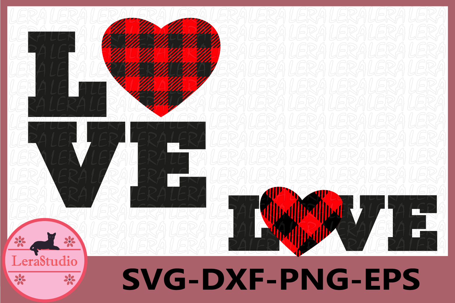 Love SVG, Heart SVG, Buffalo Plaid Svg, Valentines Hearts example image 1
