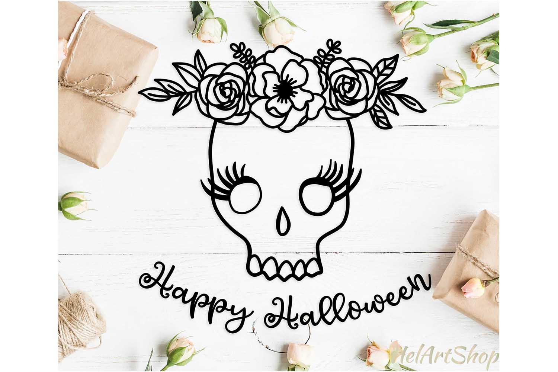 Floral halloween skull svg, Happy halloween svg example image 1