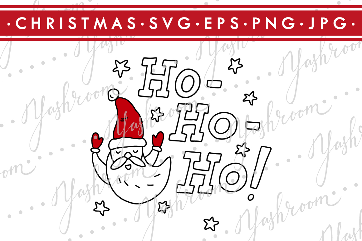 Ho-Ho-Ho -Christmas Quote SVG Cut File Silhouette example image 1