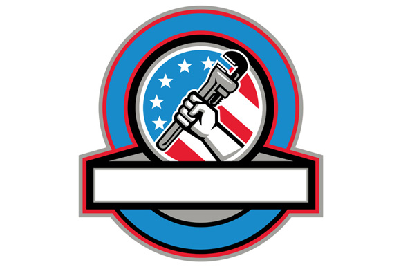 Plumber Hand Pipe Wrench USA Flag Circle example image 1