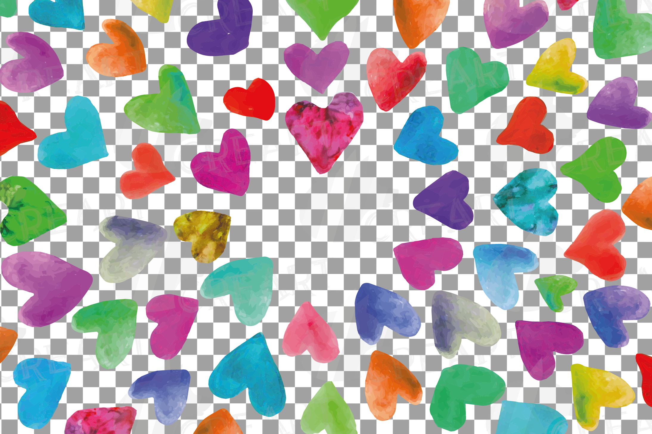 Watercolor little hearts clip art, colorful Valentine example image 19
