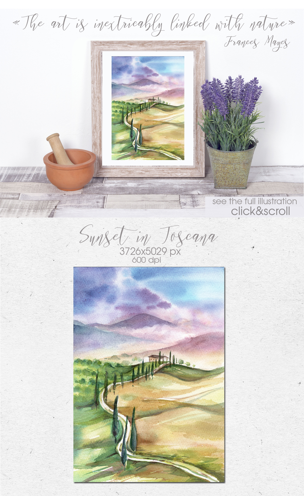 Watercolor collection PICNIC IN TUSCANY example image 4