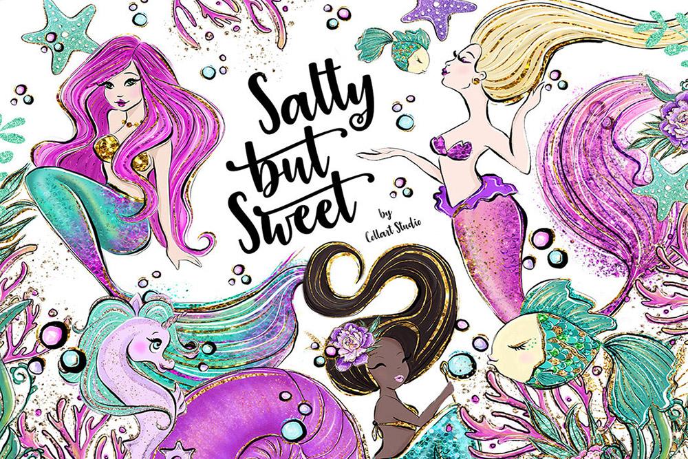 Mermaid clipart Illustrations, Sea Creatures, Summer Clipart example image 1