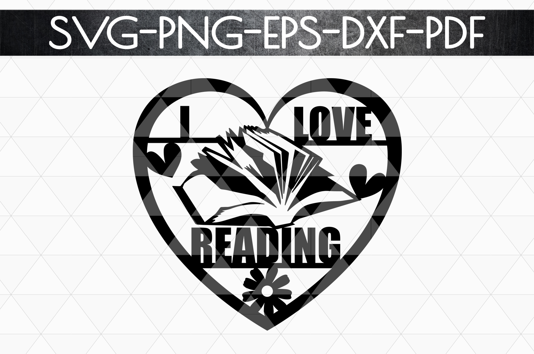 I Love Reading Papercut Template, Bookworm Cut Files, SVG example image 4