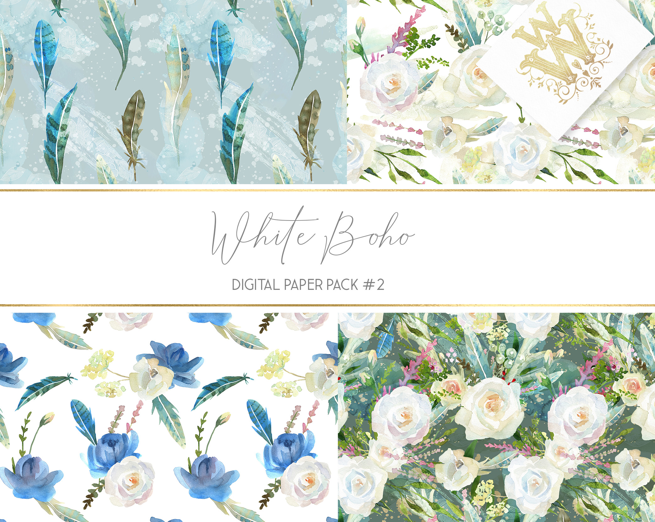 Boho chic digital paper pack, watercolor floral seamless example image 4