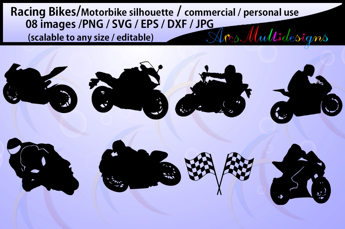 racing bike silhouette / motorbike silhouette / sports bike silhouette / SVG Cutting Templates / SVG / EPs / DXf /JPG /PNg example image 1