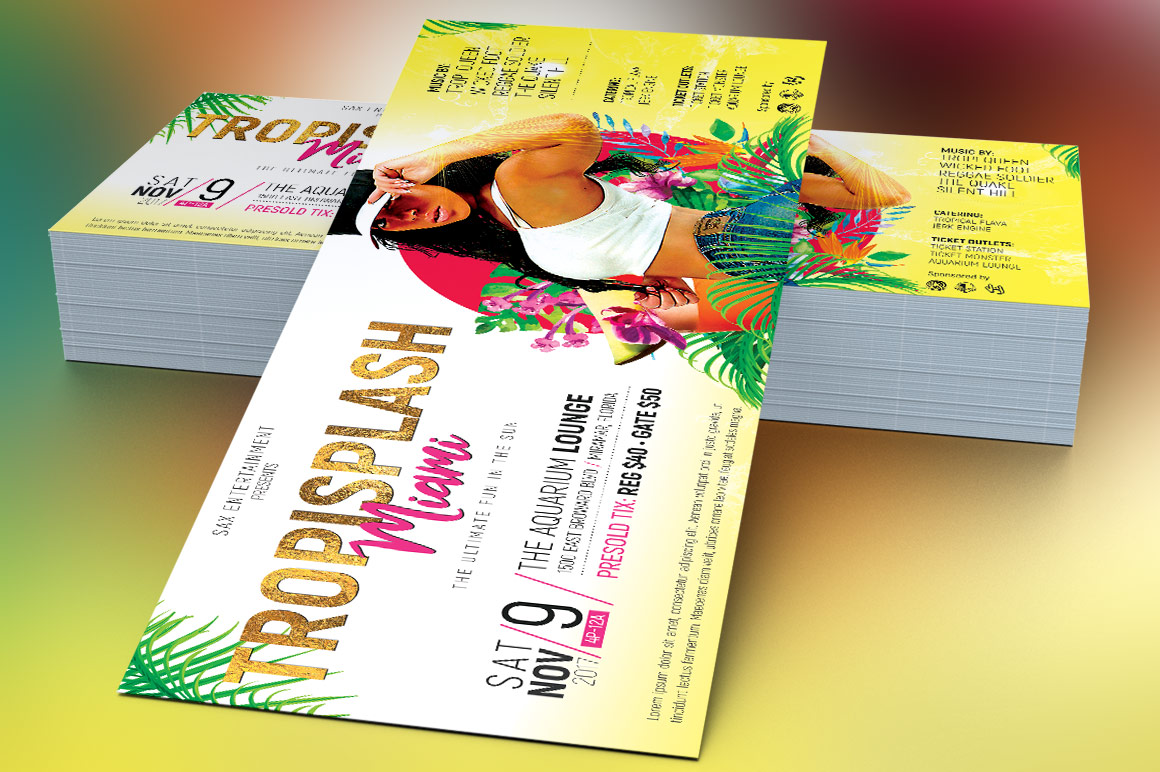 Tropical Party Flyer Template example image 3