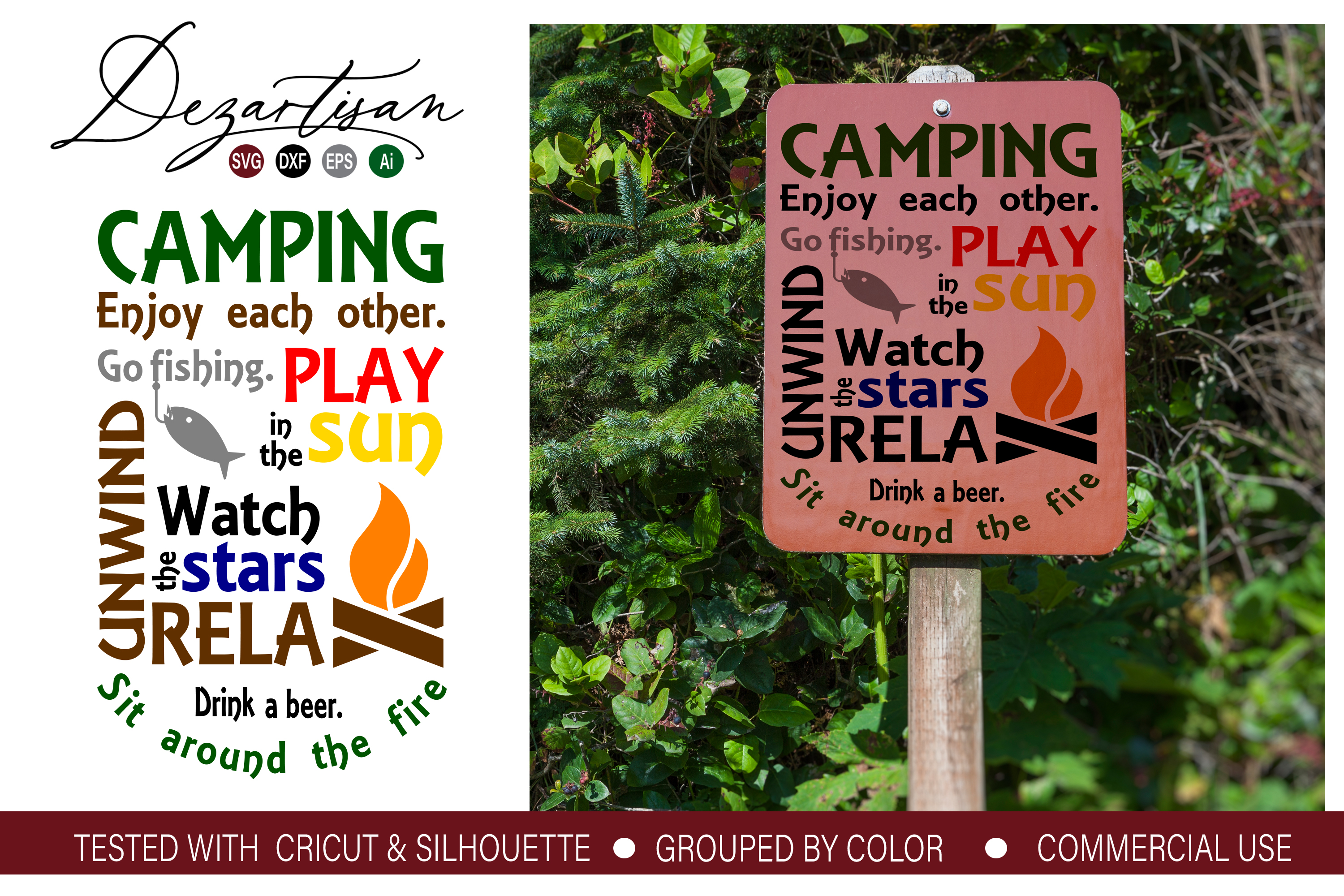 Camping Relax Fire Fishing Subway Art SVG DXF cut file example image 1