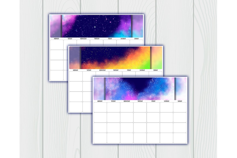 Undated printable calendar planner. 12 Months. Sunday, Mond example image 3