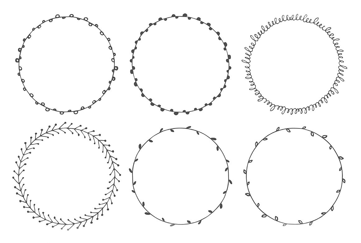 90 Hand Drawn Decorative Round Frames example image 3