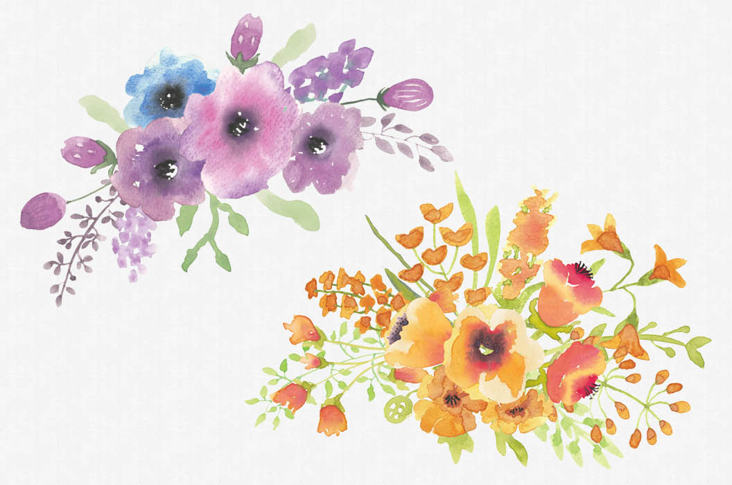 Set of mixed floral sprays hand painted watercolors example image 3