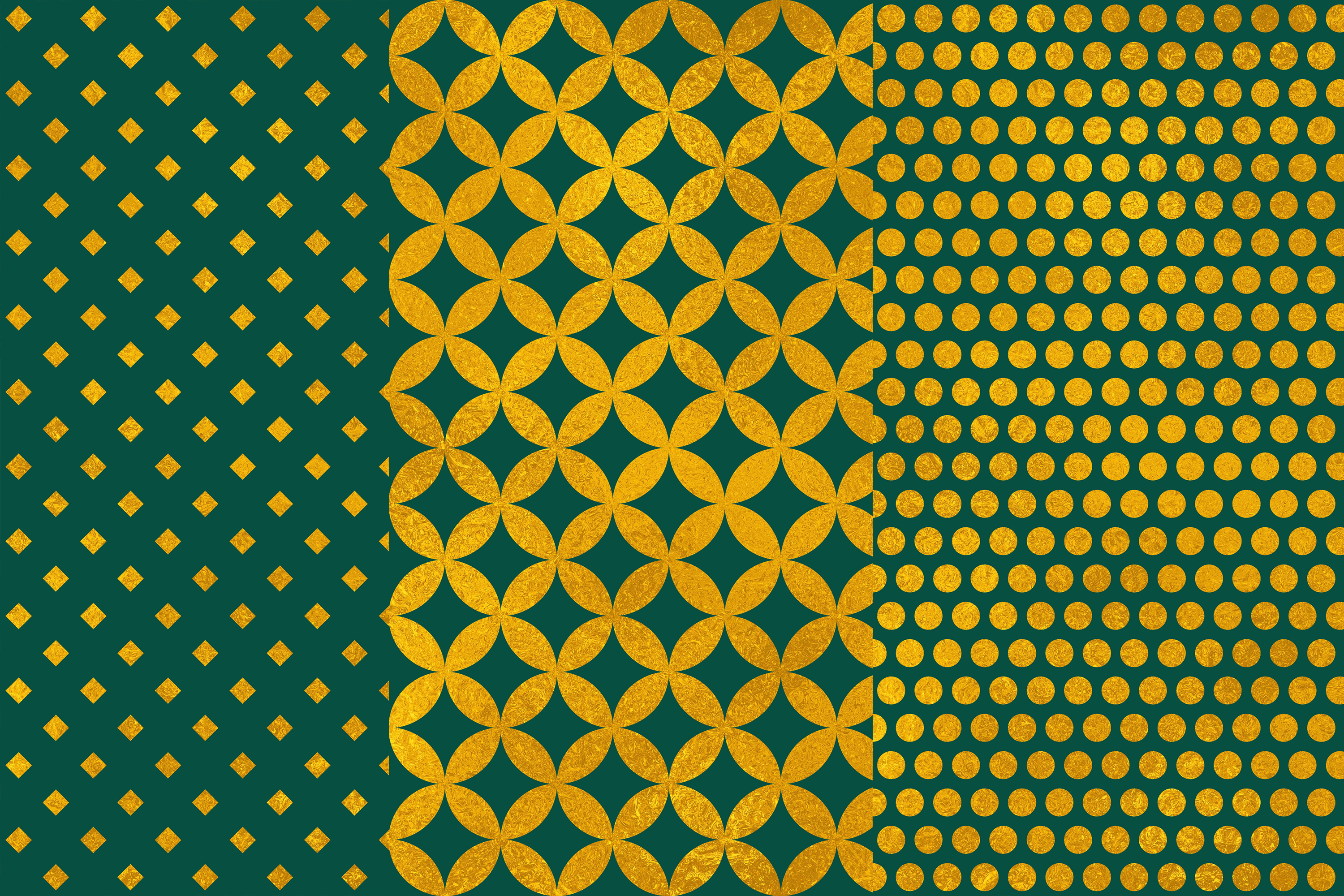 Green Gold Digital Papers, Gold Geometric Patterns example image 2