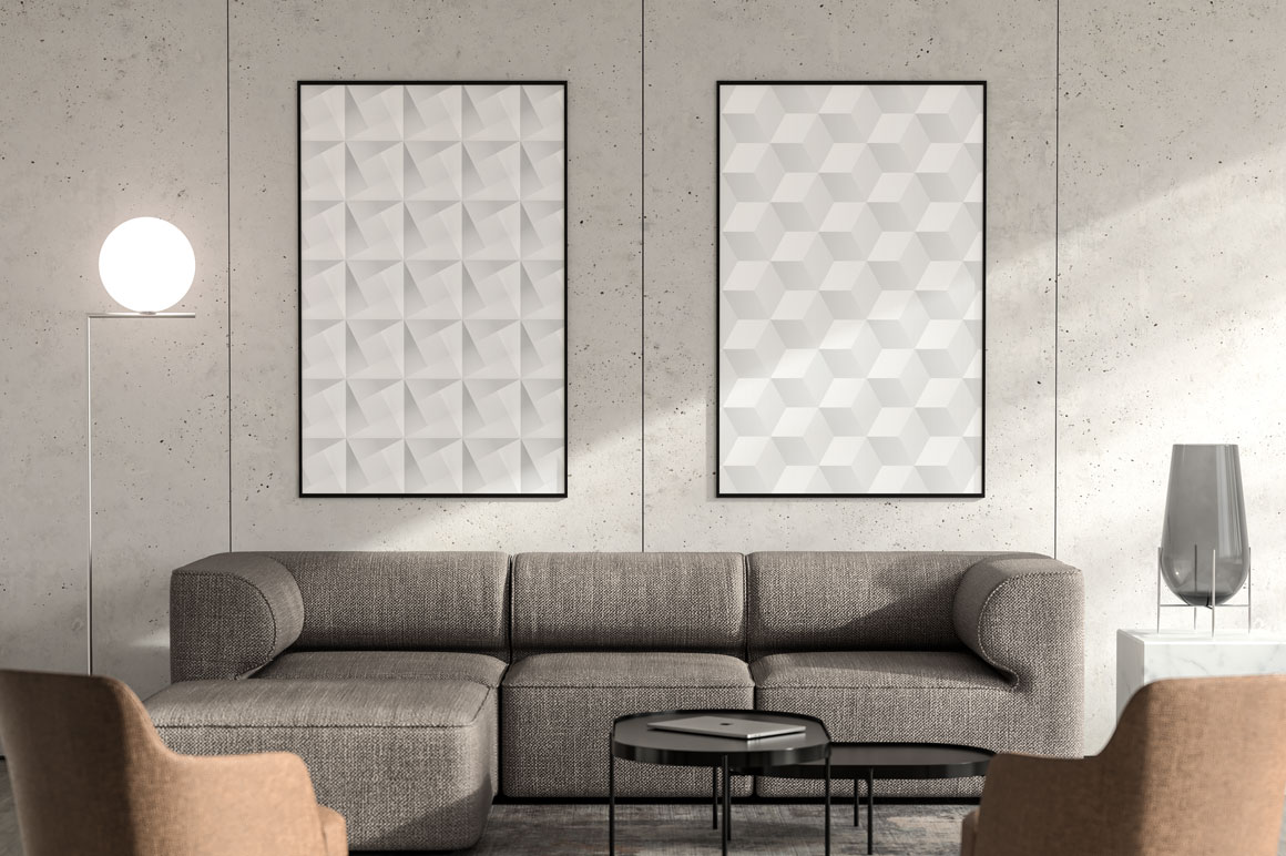 White abstract geometric posters example image 3