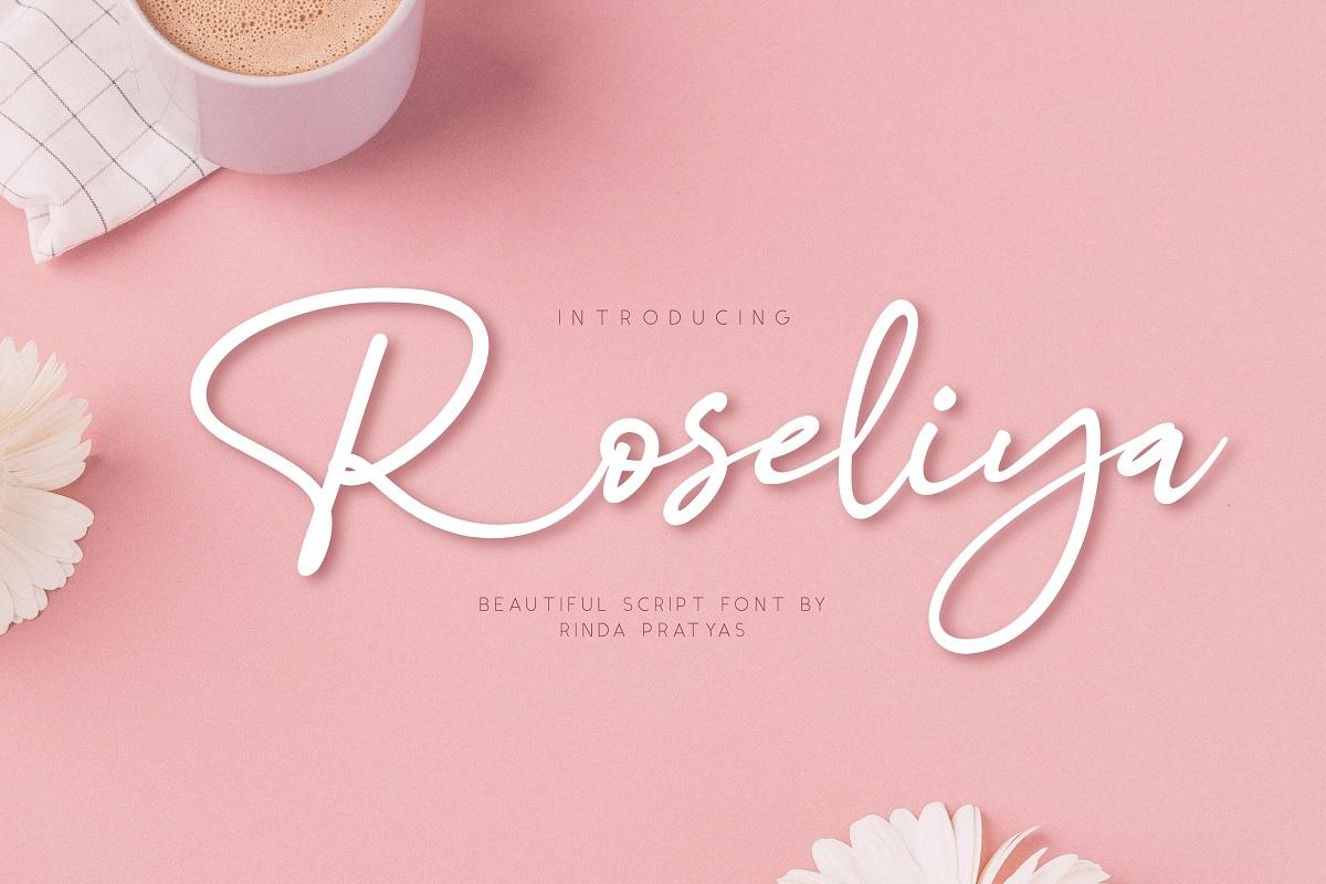 Roseliya Beautiful Script Font example image 1