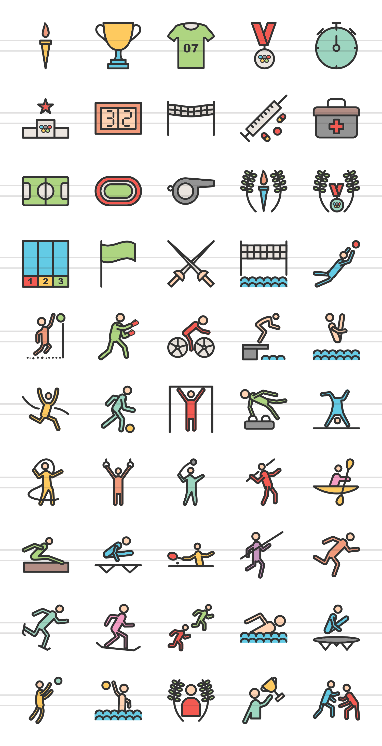 50 Olympics Linear Multicolor Icons example image 2