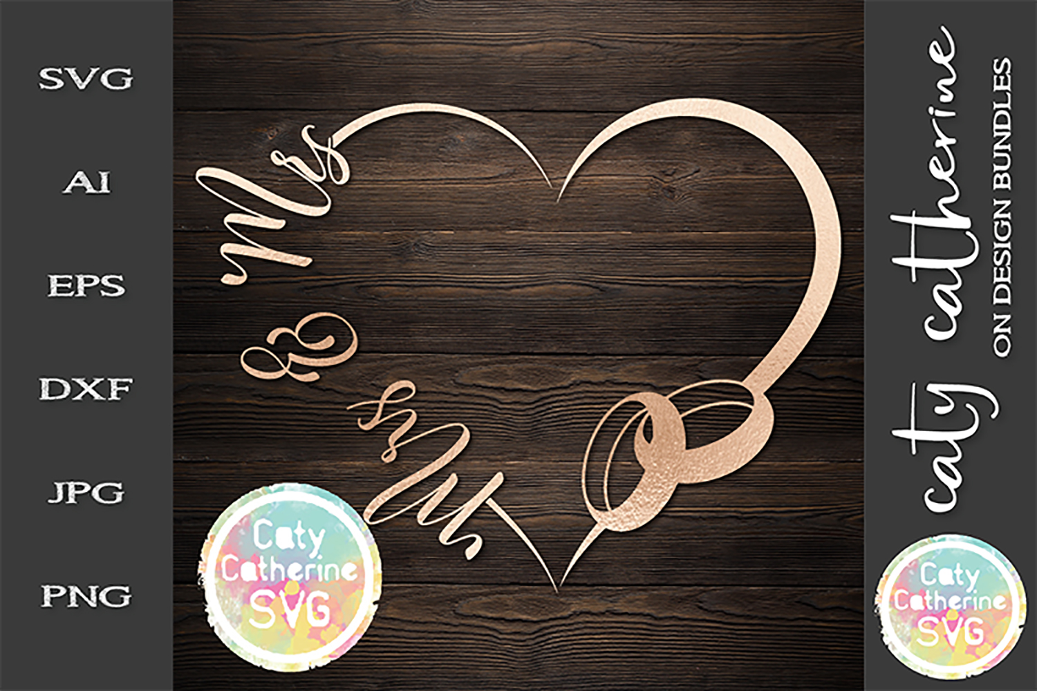 Wedding Love Heart Frame With Rings Mrs & Mrs Bundle SVG Cut example image 1