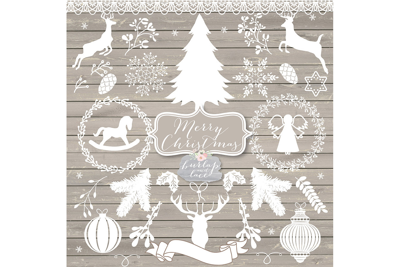 Vector white rustic hristmas Cliparts example image 2