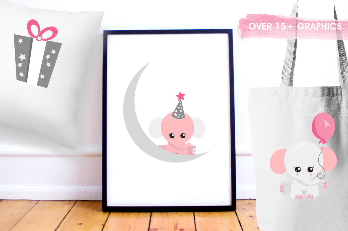 Baby girl Elephant graphics and illustrations example image 5