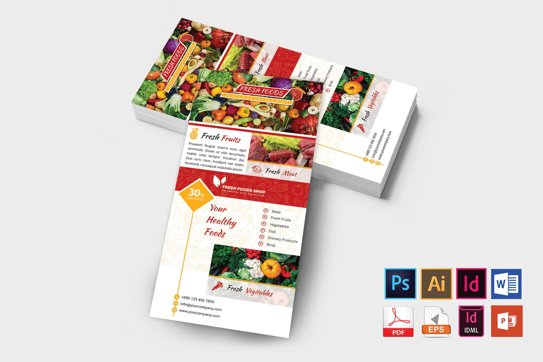 Rack Card | Fresh Food DL Flyer Vol-01 example image 2