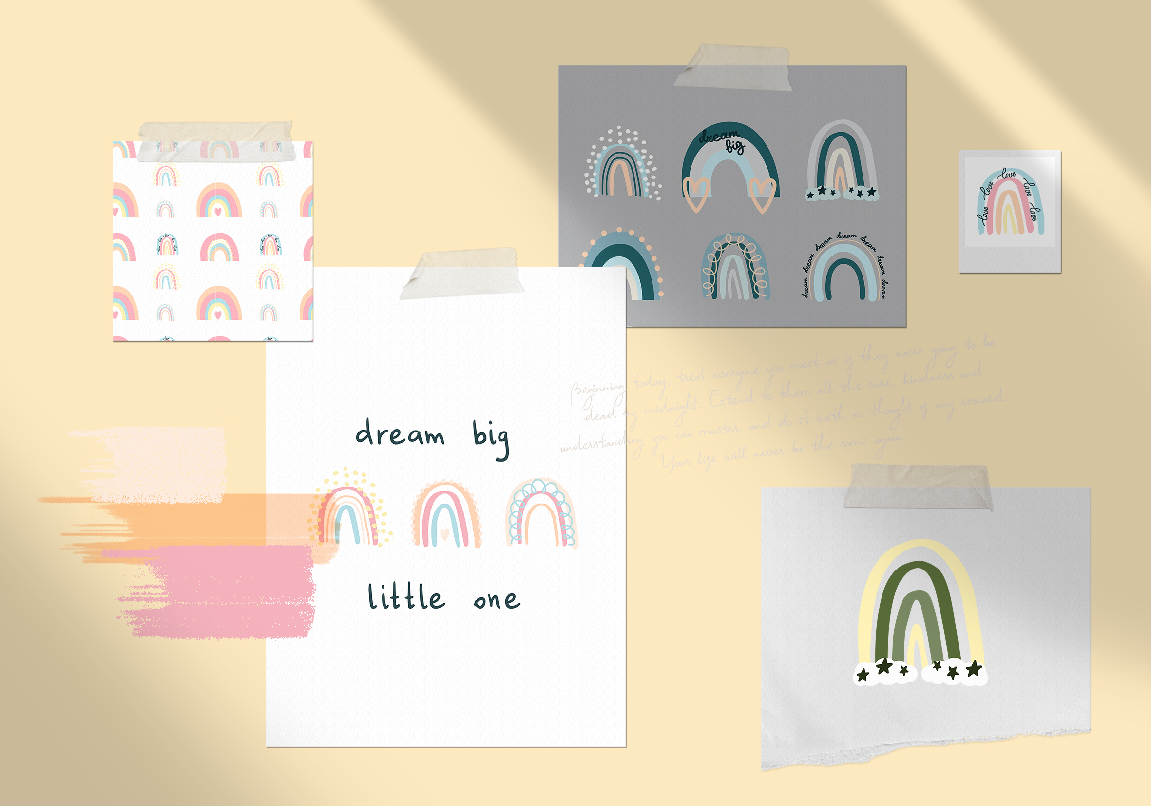 PASTEL RAINBOW. Abstract Graphic Set example image 9