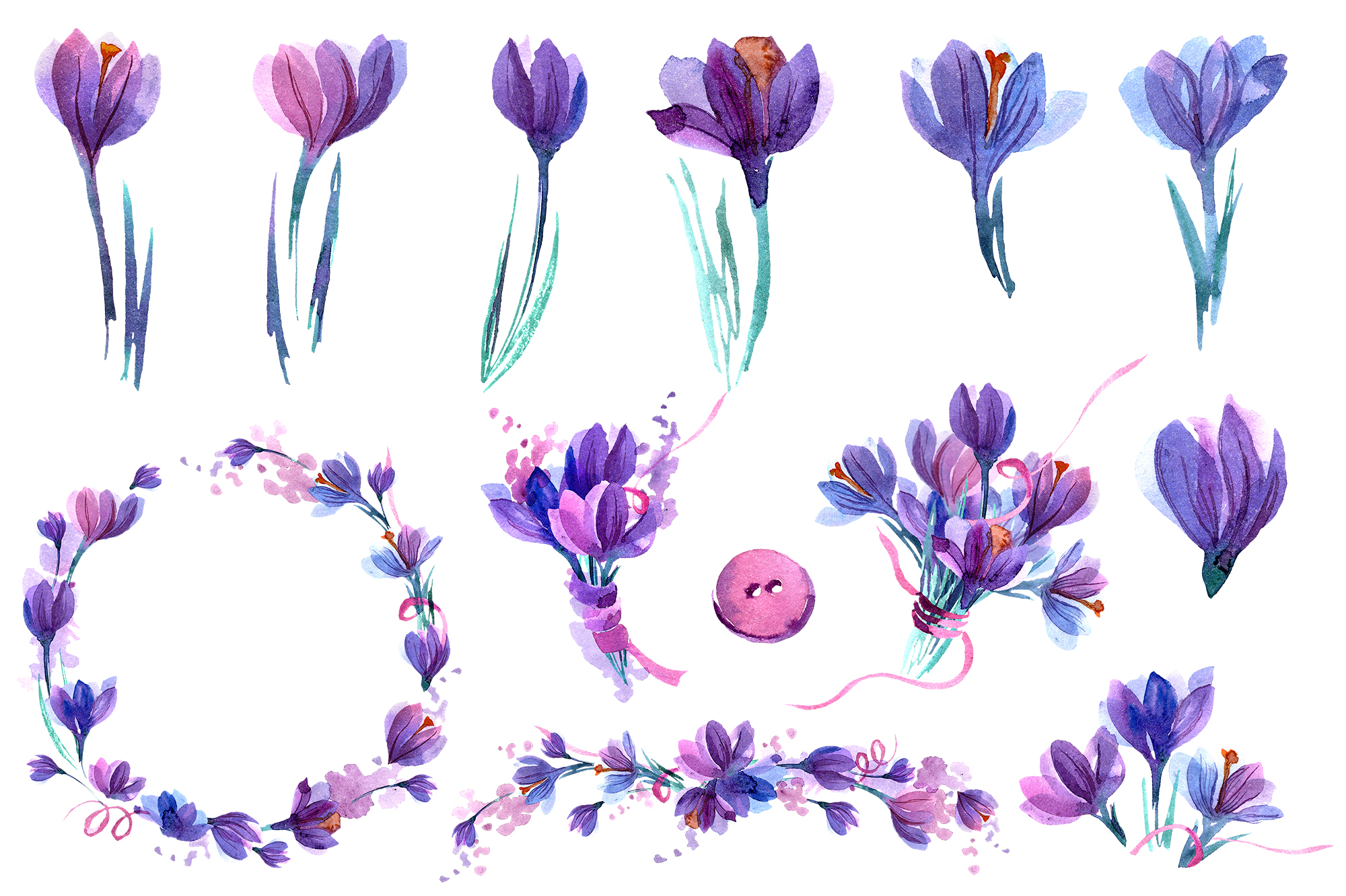 Watercolor crocuses and snowdrops example image 2