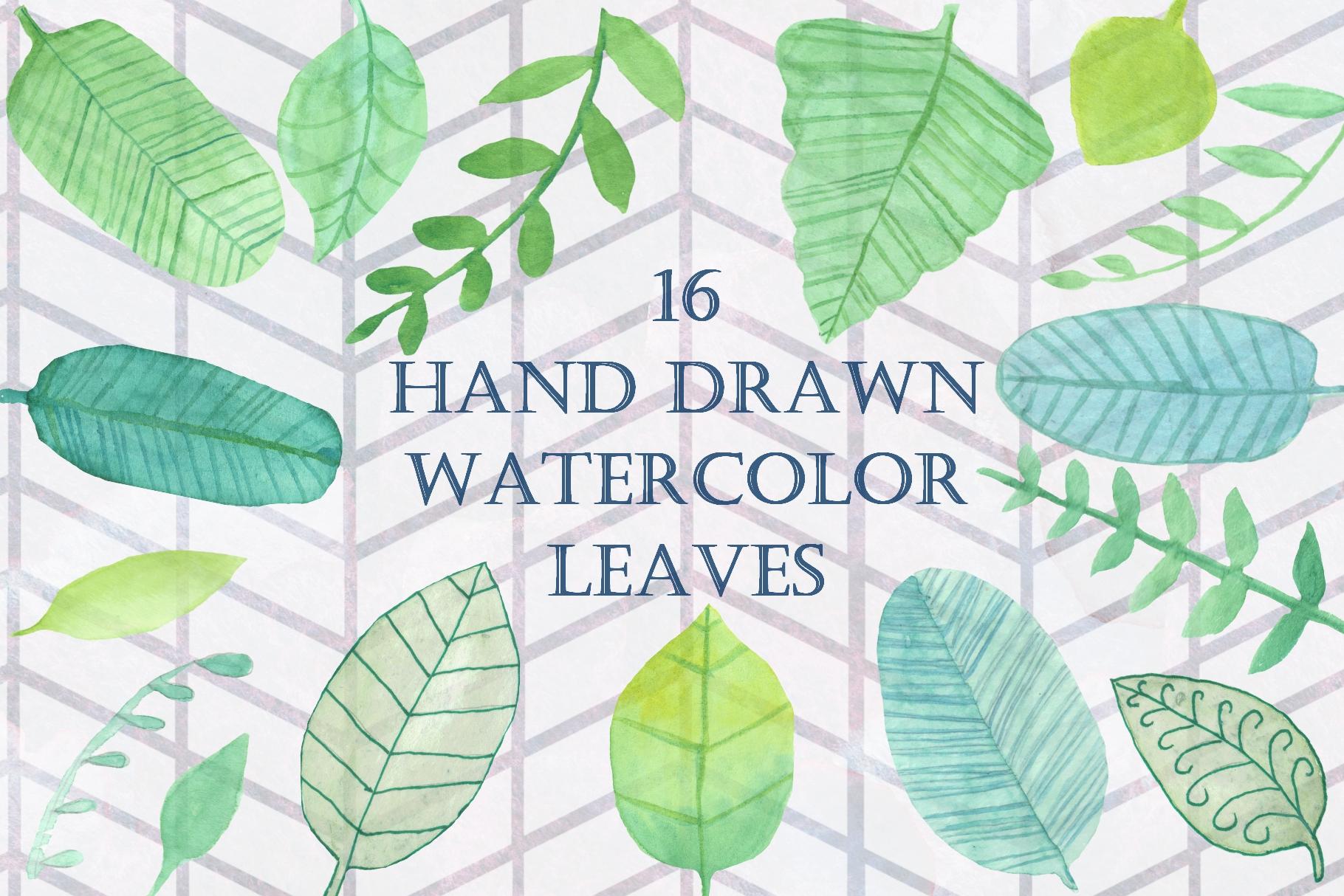 16 Handpainted Watercolor Leaves example image 1