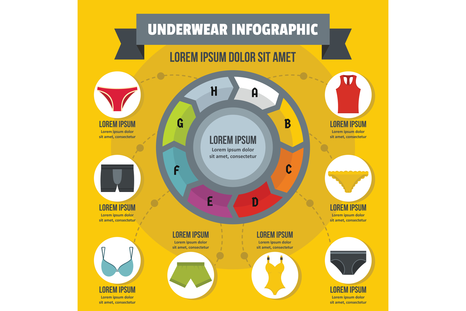 Underwear infographic concept, flat style example image 1