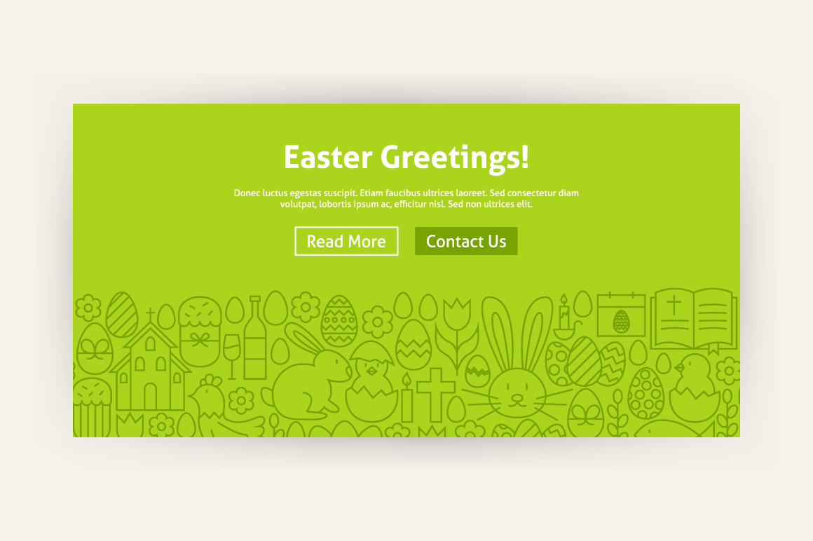 Happy Easter Line Art Web Banners example image 2
