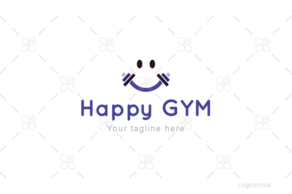 Happy Gym - Health & Fitness Stock Logo Template example image 1