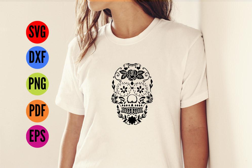 Sugar Skull Stencil SVG Cutting File example image 4