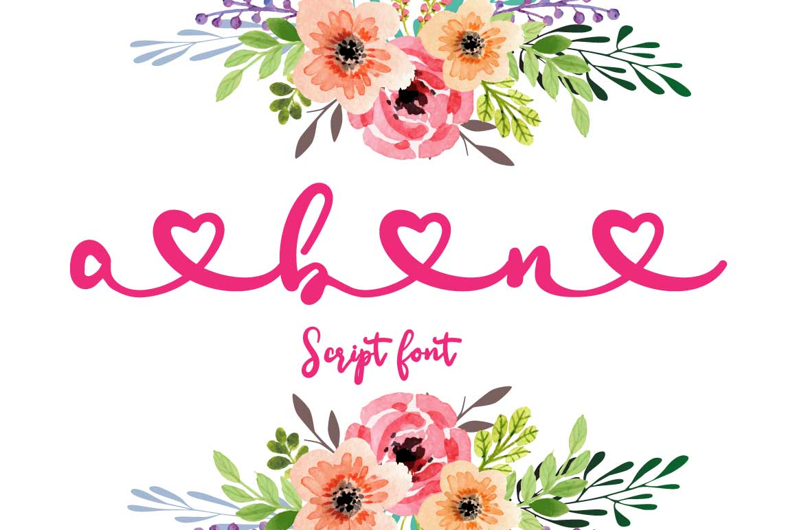 Ana Bryan| Cute heart Script Font example image 2