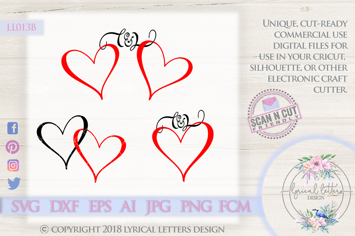 Heart Frame with Ampersand Wedding SVG Cut File LL013 B example image 1