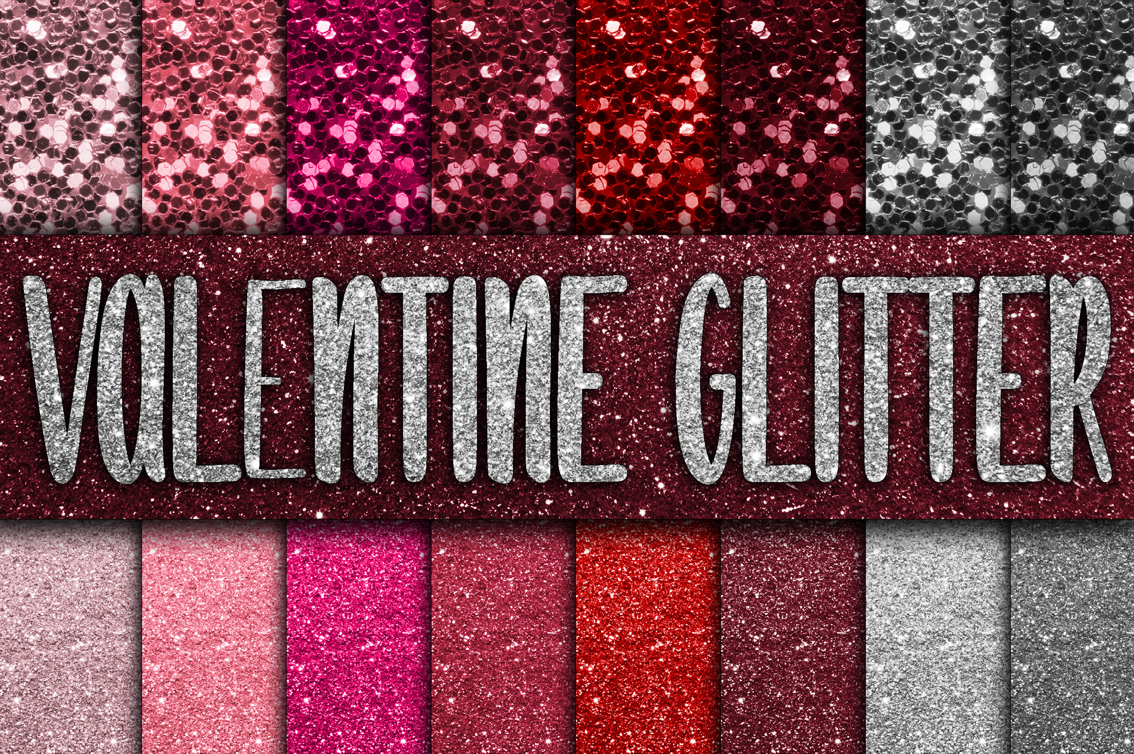 Valentine Glitter Digital Papers example image 1