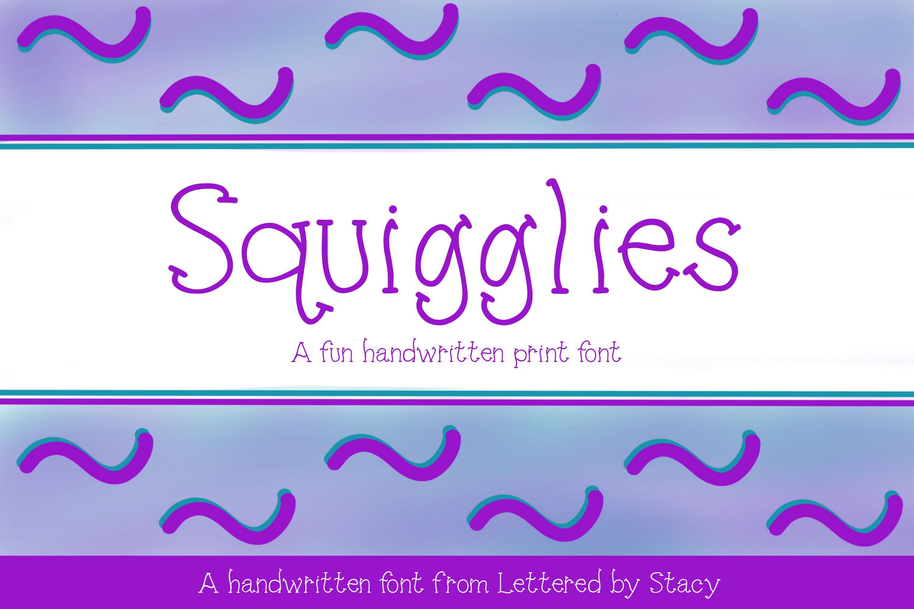 Squigglies - A fun handwritten print font example image 1