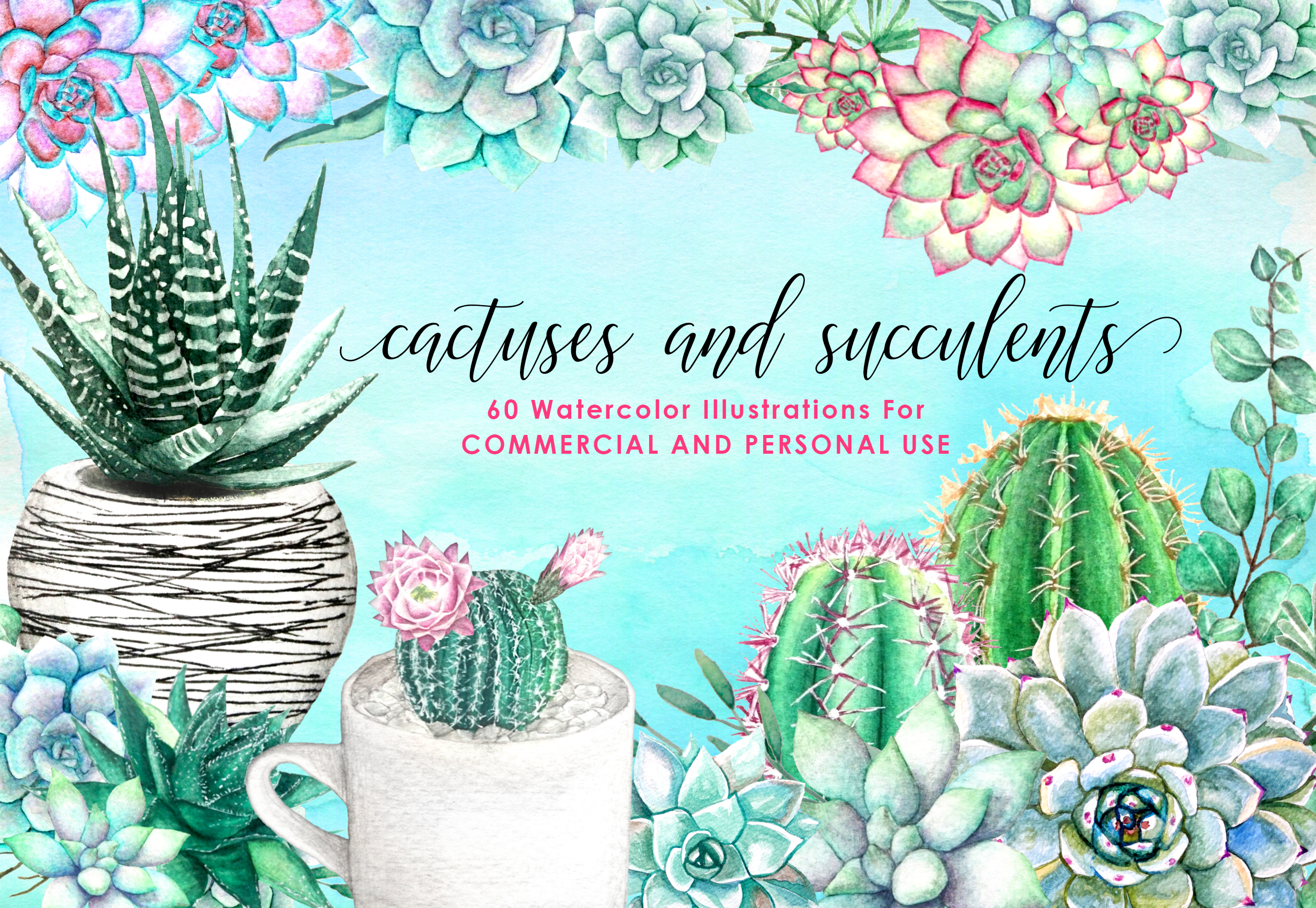60 Watercolor Succulents and Cactus Bundle Watercolor Flowers  example image 1