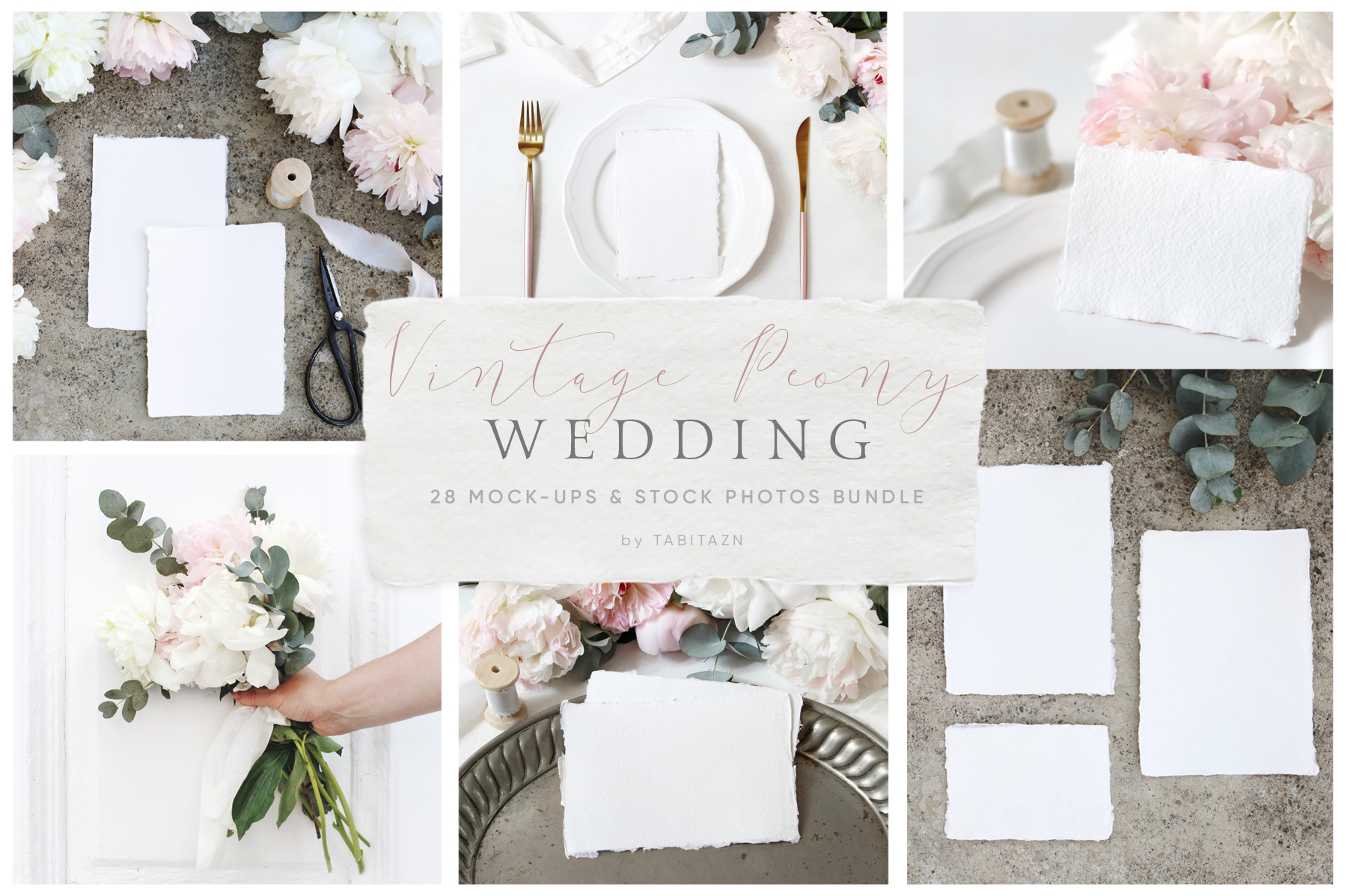 Vintage peony wedding mockups & stock photo bundle example image 1